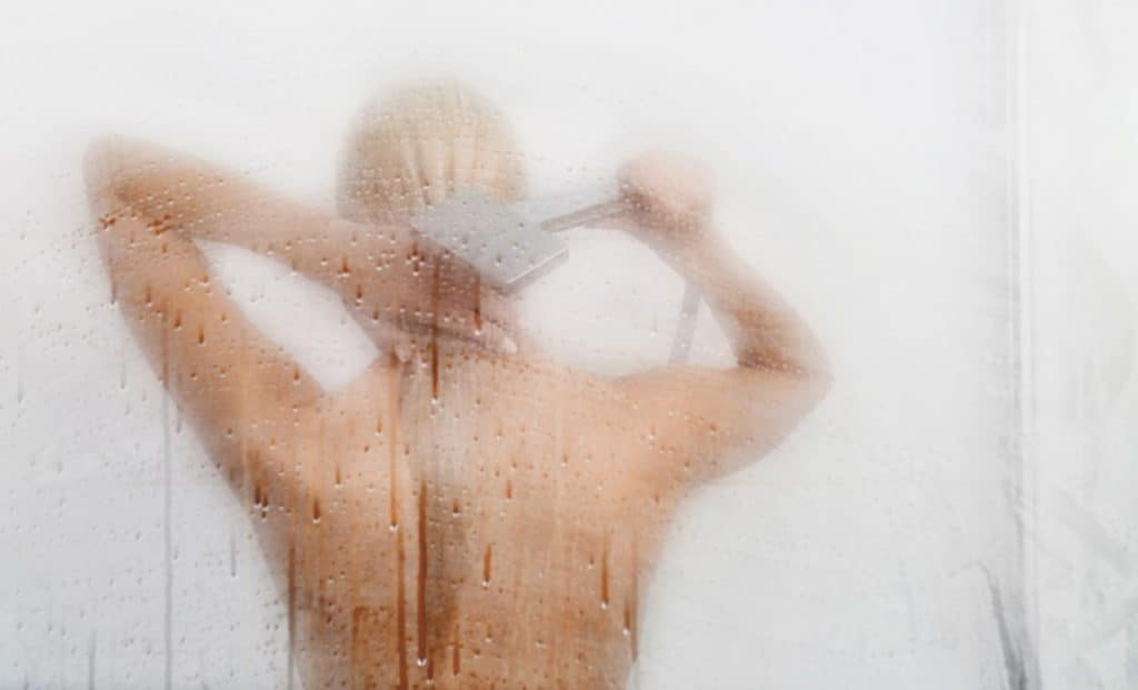 beautiful woman in the shower